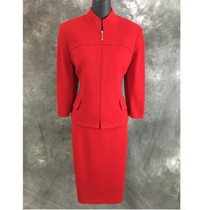 ST JOHN red pearl knit jacket skirt suit size 8
